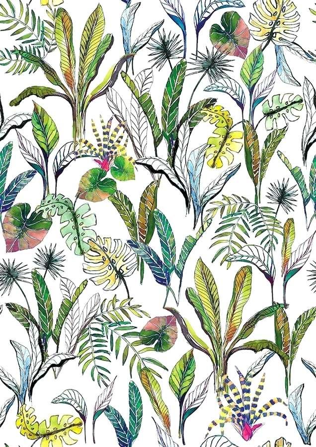 Tropical Magic Botanic Wallpaper Mural Coloured Plant - Iris , HD Wallpaper & Backgrounds