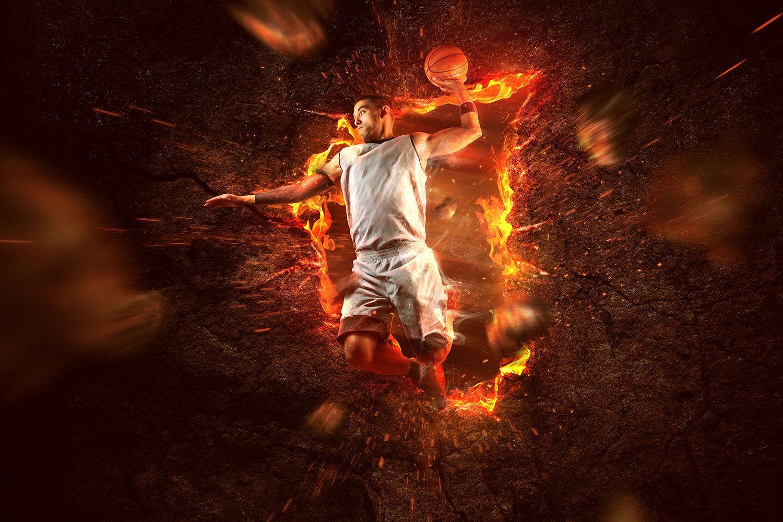 Flaming Basketball Wallpaper Basketball Gym On Fire 1812629
