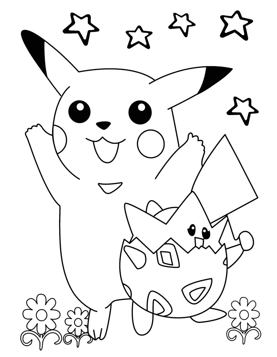 Togepi Coloring Page Throughout Pages Creativemove - Pikachu And Togepi Coloring Page , HD Wallpaper & Backgrounds