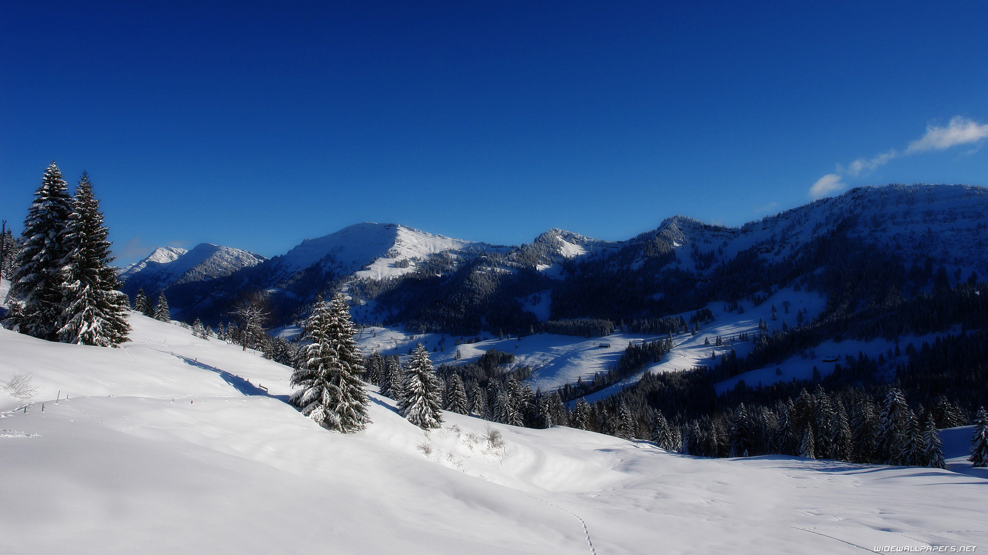 Winter Wide Wallpapers And Hd Wallpapers - Blue Sky Snowy Mountains , HD Wallpaper & Backgrounds