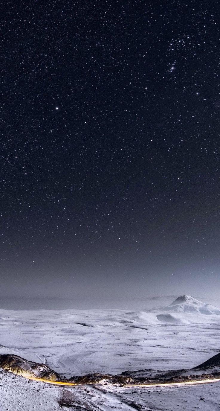 Download Night Stars Mountain Range Winter Landscape