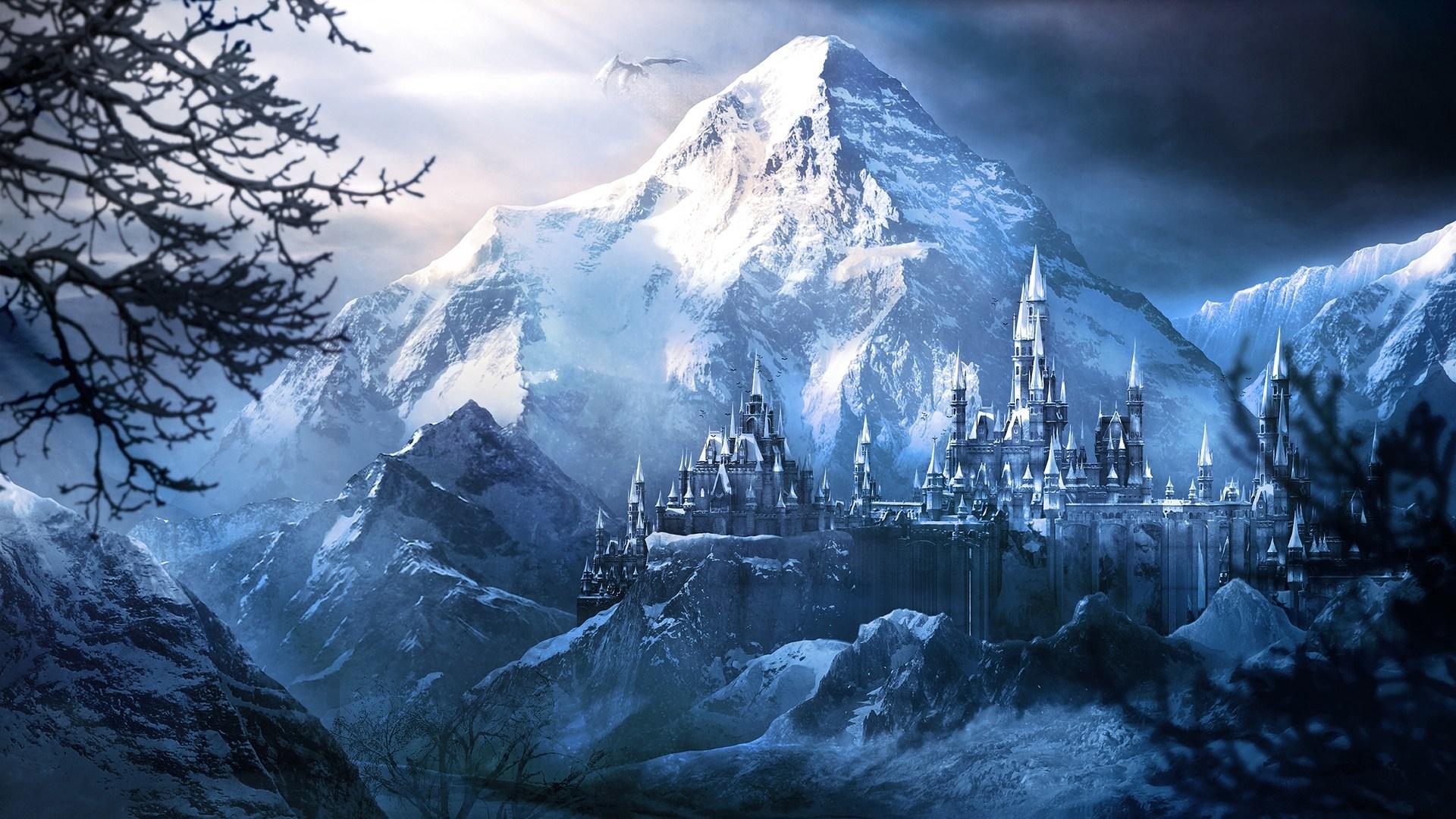 Winter In Mountains Wallpaper - Fantasy Landscape Background , HD Wallpaper & Backgrounds
