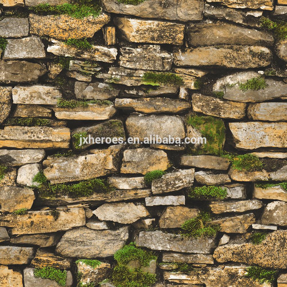 Segar Lumut Tersebar Distribusi 3d Batu Bata Wallpaper