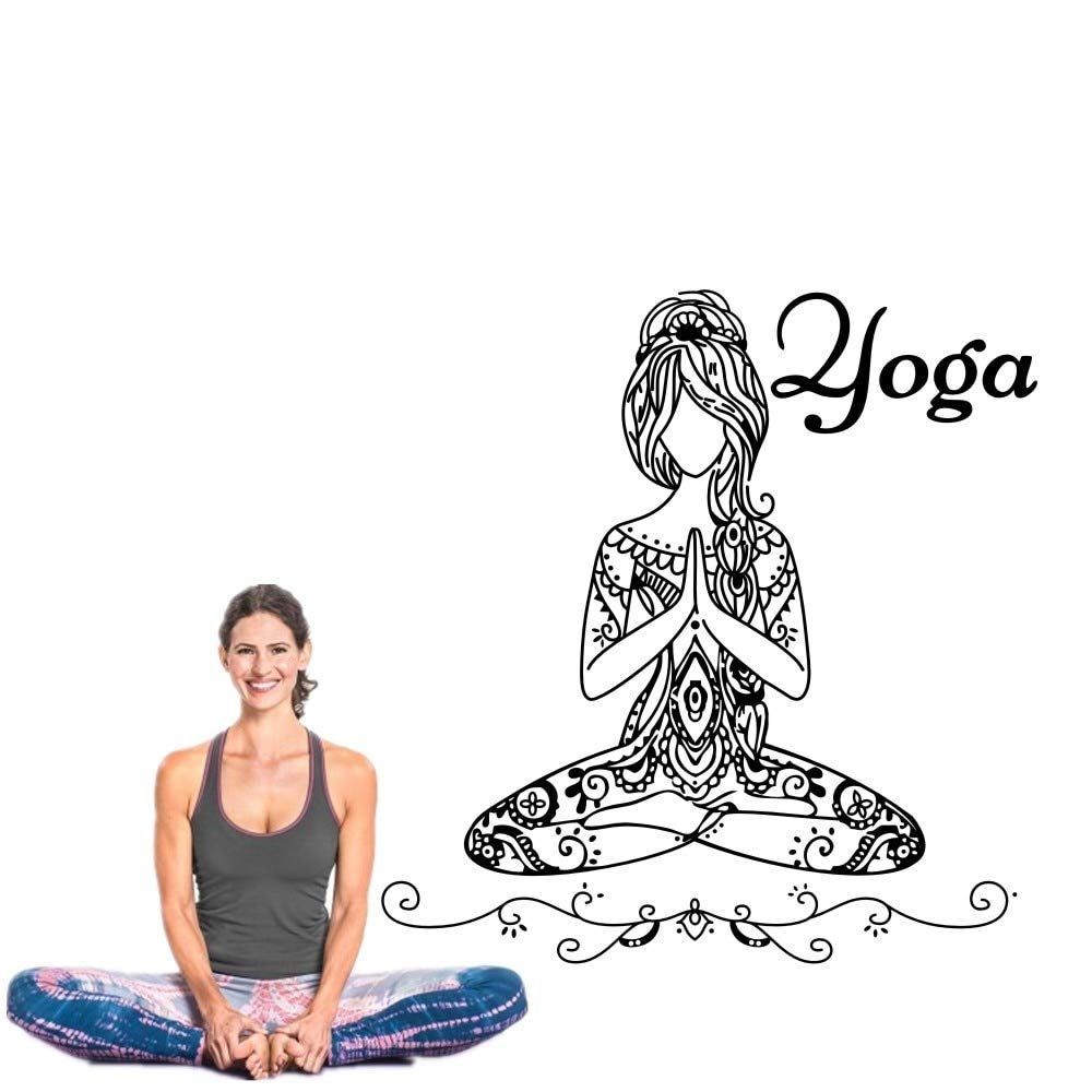 Removable Buddha Yoga Girl Namaste Wall Decals Yoga - Butterfly Yoga Pose , HD Wallpaper & Backgrounds