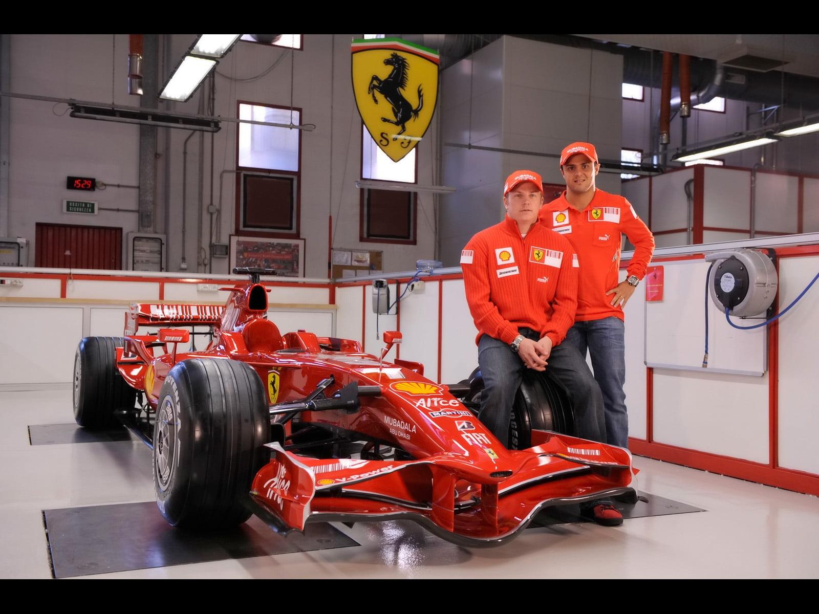 Red Go Kart With Two Men Standing Beside Hd Wallpaper Kimi Raikkonen Scuderia Ferrari 1850157 Hd Wallpaper Backgrounds Download