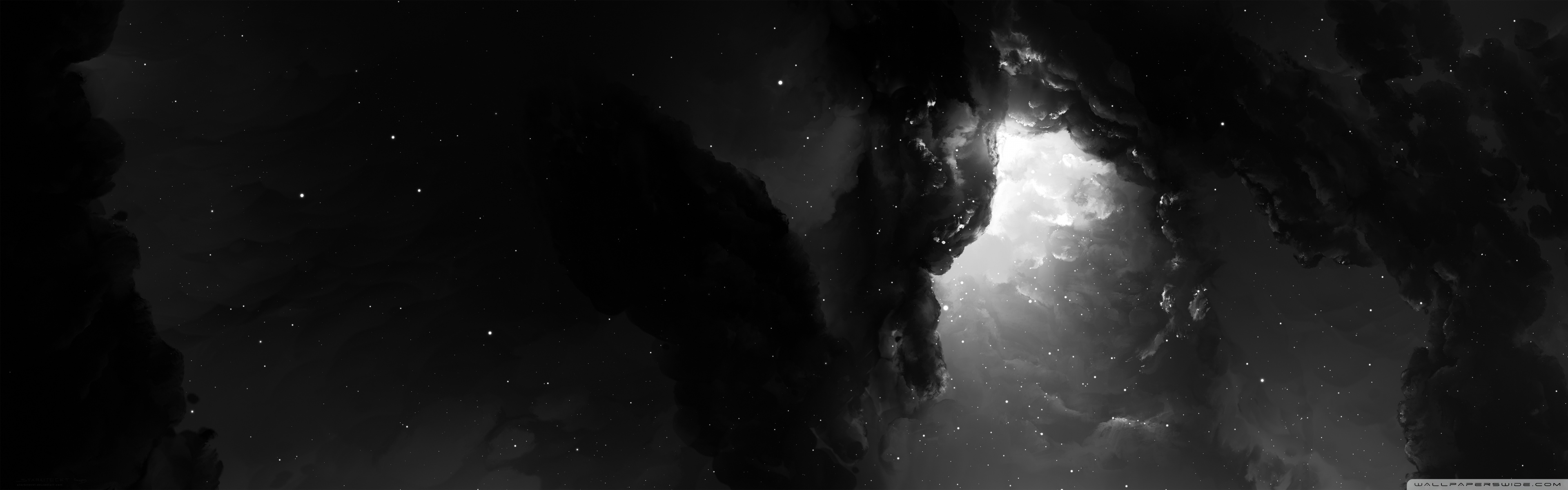 Dual Monitor Nebula Starkiteckt â 4k Hd Desktop Wallpaper