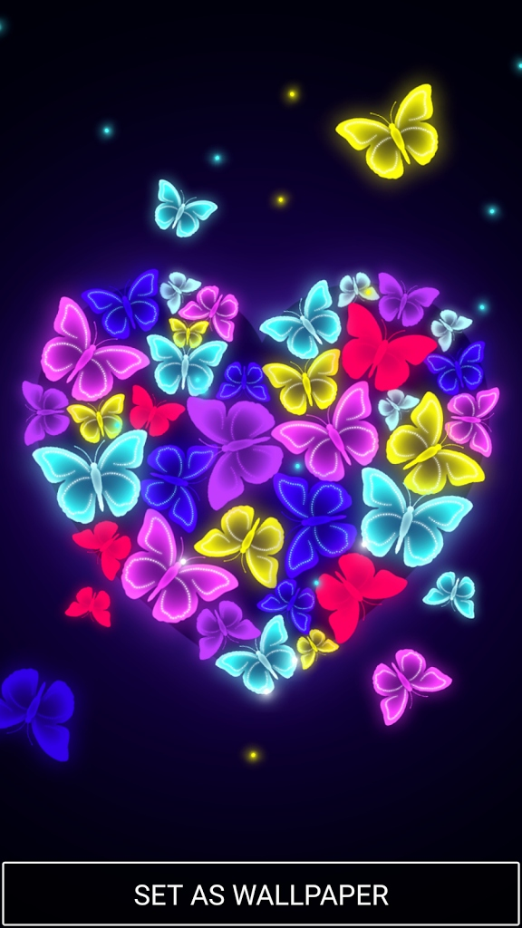 Free Heart Png Fresh Neon Butterfly Live Wallpaper - Neon Butterfly Wallpaper Hd , HD Wallpaper & Backgrounds