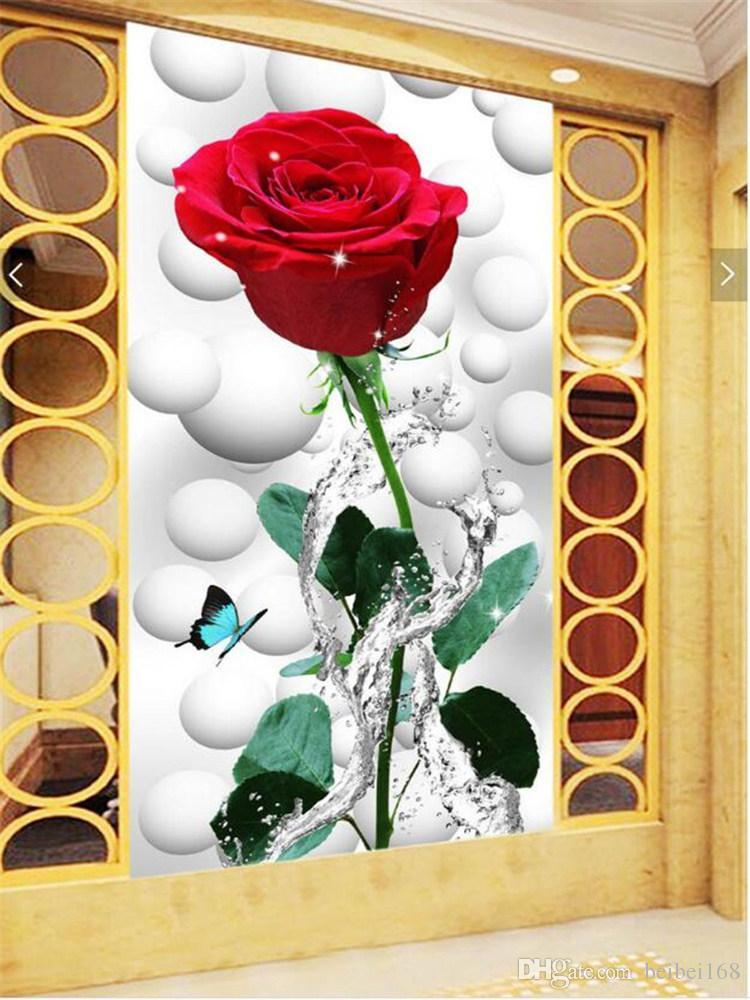 Custom Photo Mural Wallpaper Modern Fashion 3d Butterfly - Flower Rose Butterfly 3d , HD Wallpaper & Backgrounds