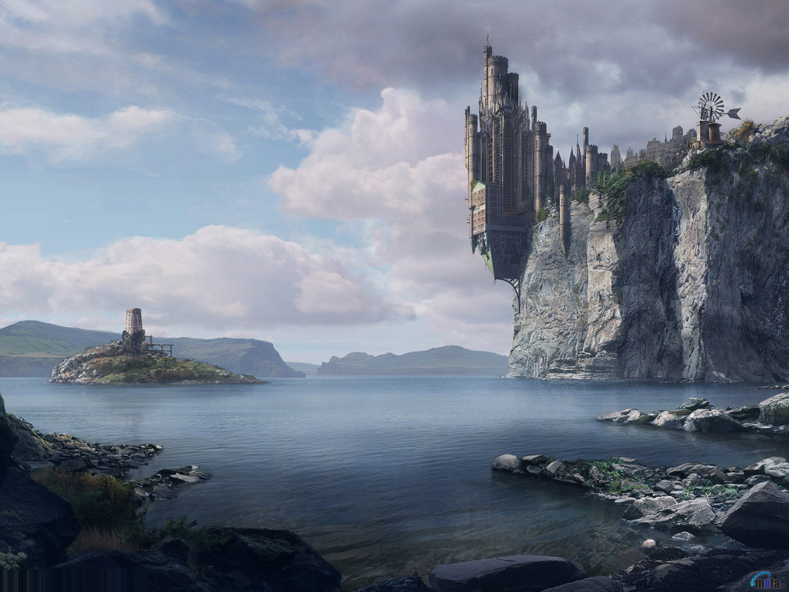 Hd Wallpapers For Desktop 3d Cool Scenery Wallpapers - Castle On A Cliff Fantasy , HD Wallpaper & Backgrounds