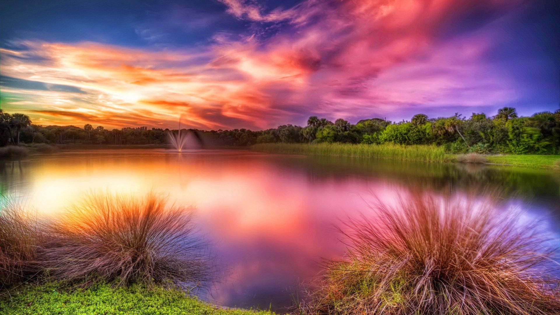 Sunset Vero Beach Colorful Grass Lake Glow Amazing - Vero Beach Sunsets , HD Wallpaper & Backgrounds