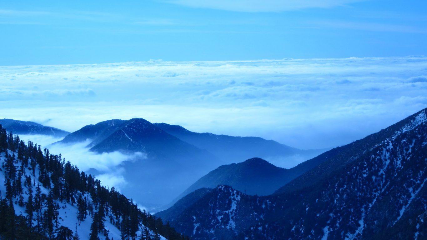 Sky Elevation Blue Hue Mountains Wallpaper Winter - Dark Mountain Sky , HD Wallpaper & Backgrounds