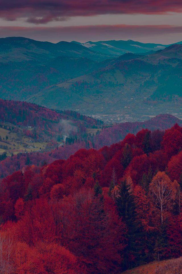 Fall Mountain Fun Red Tree Nature Dark Beautiful Iphone Dark Red