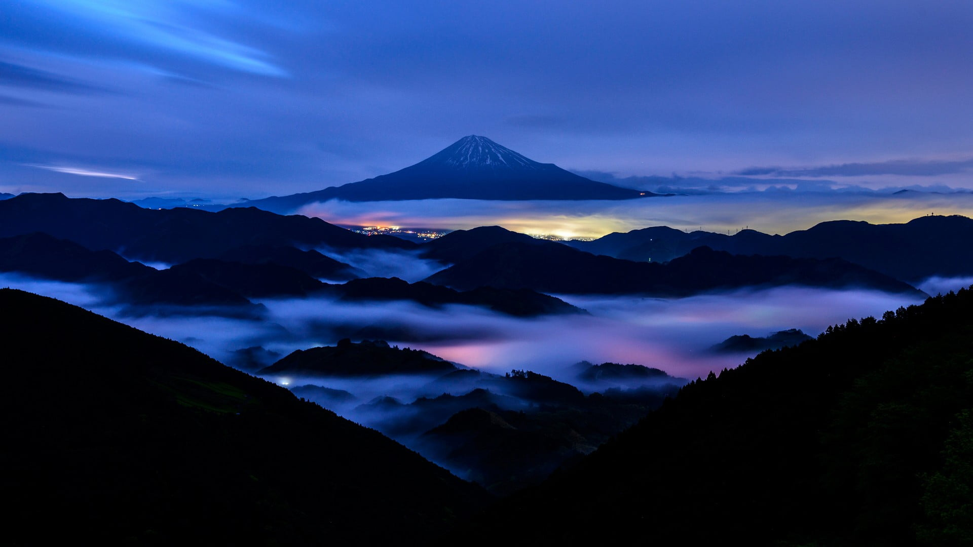 Silhouette Of Mountain, Nature, Landscape, Mountains, - Mount Fuji , HD Wallpaper & Backgrounds