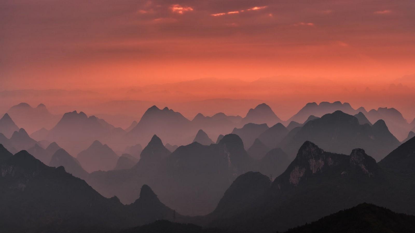 Nature, Landscape, Sunrise, Mountains, Mist, Pink, - Pink Sunrise Mountain Background , HD Wallpaper & Backgrounds