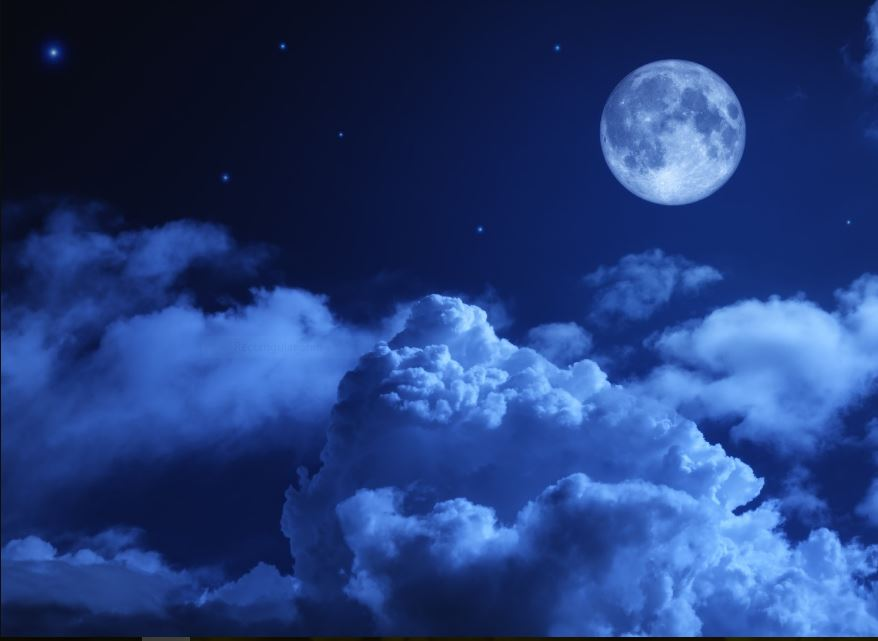 Blue Moon Night Sky Wallpaper - Cloud Sky Night Moon , HD Wallpaper & Backgrounds