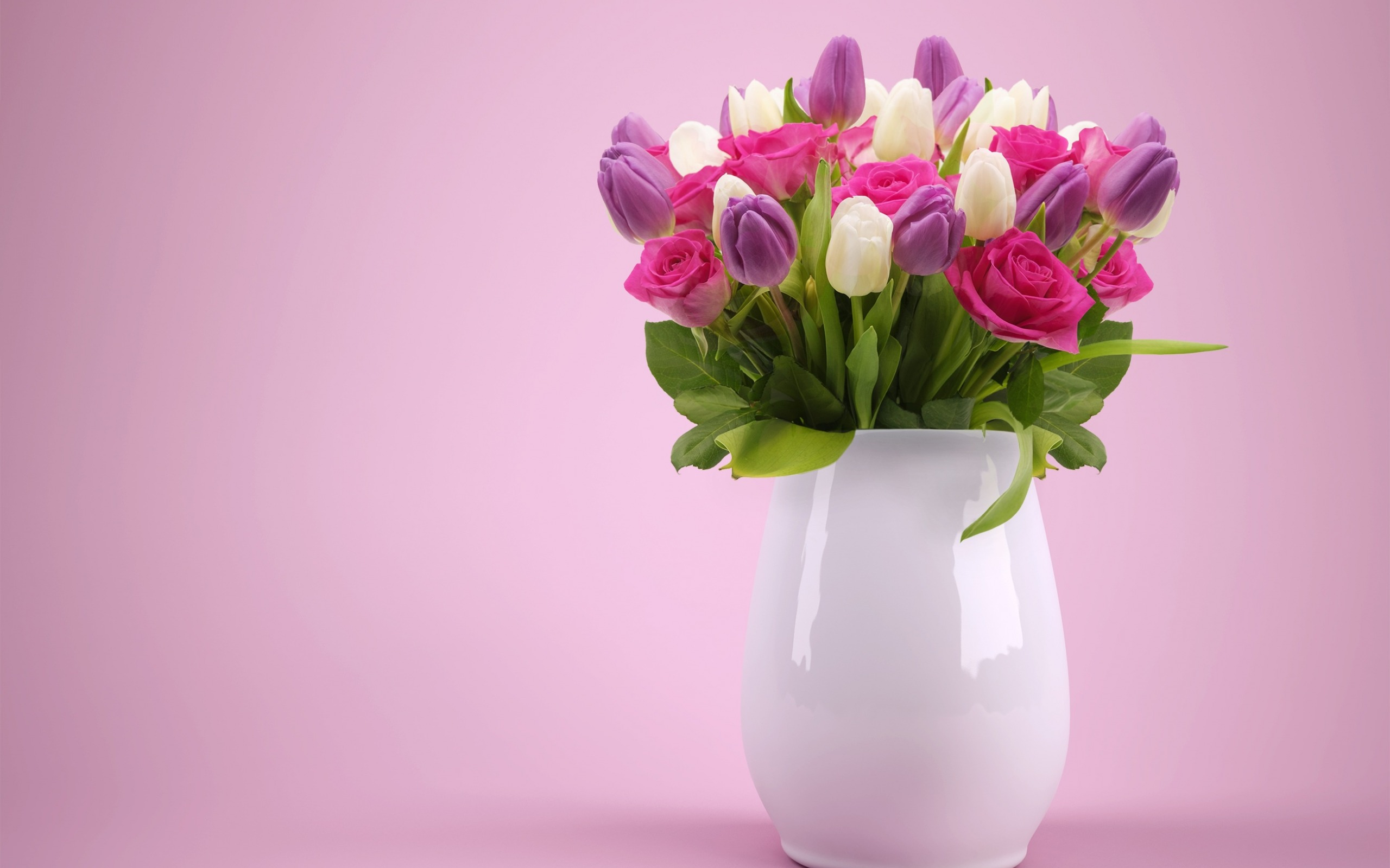 Colorful Spring Bouquet, Flowers In A Vase, Purple - Good Night Images With Flowers , HD Wallpaper & Backgrounds