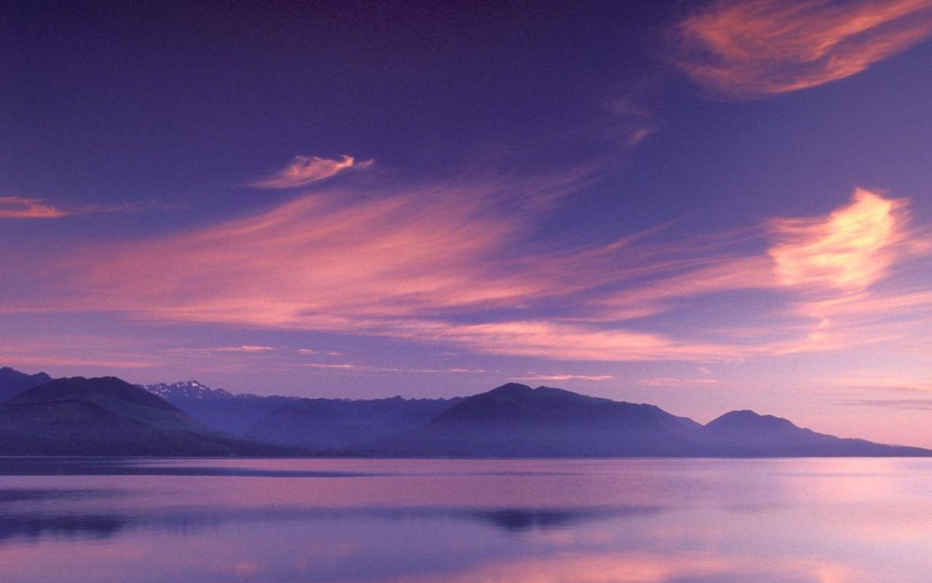 Originalwide Pink Sky Mountains & Sea Wallpapers - Desktop Background Sky Pink , HD Wallpaper & Backgrounds
