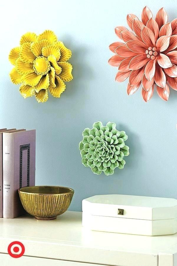 White Flower Wall Art Metal Decor Large Paper Flowers - Flowers Decore In Wall , HD Wallpaper & Backgrounds