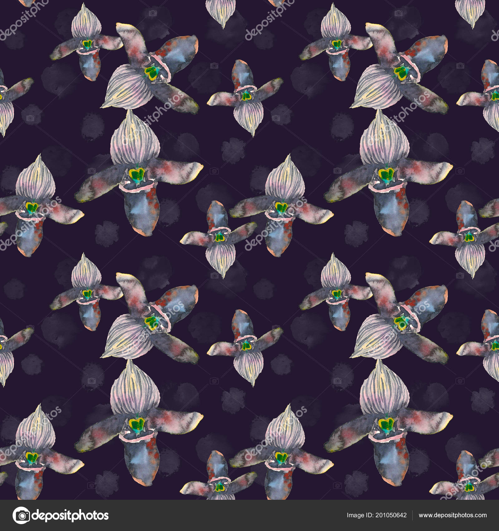 Tropical Seamless Pattern With Black Orchids Flowers Black