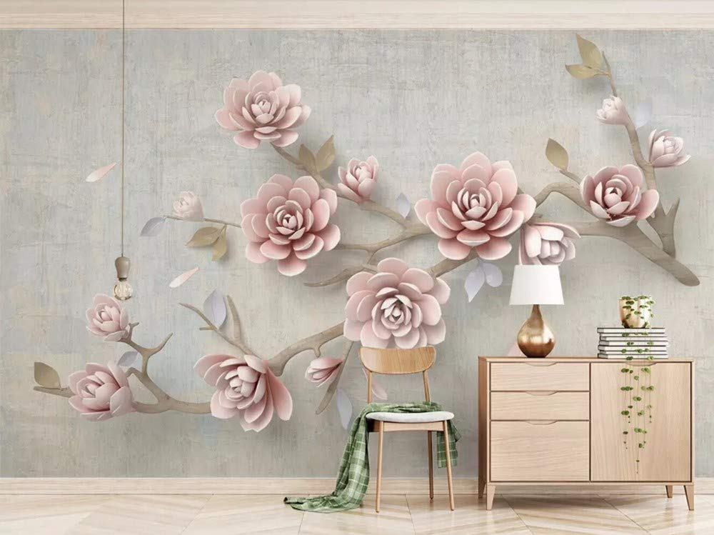 Wall Mural Flower Pink Three Dimensional Embossed Branches - Gray Gold And Marble Living Room , HD Wallpaper & Backgrounds