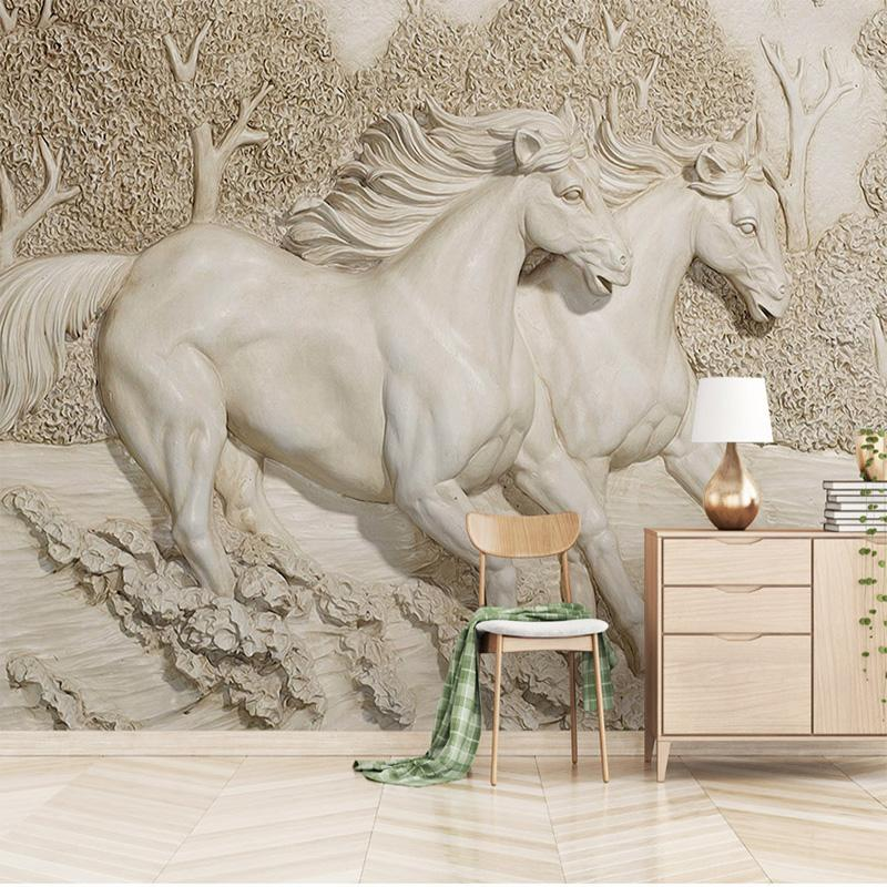 Custom Any Size Mural Wallpaper 3d Embossed White Horse 3d Horse