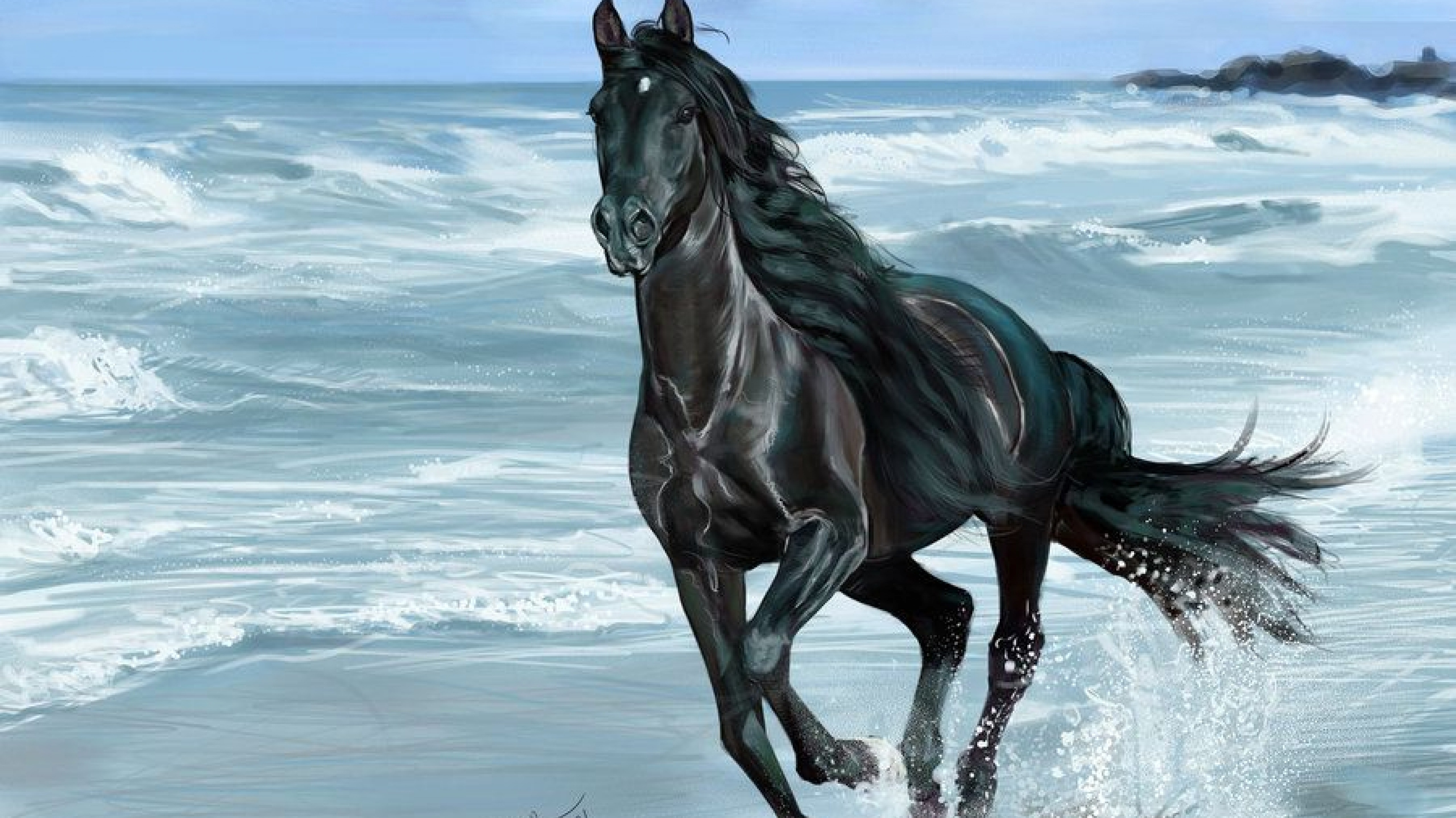 5k Painting Art Of Black Horse Running On Beach Black Horse On Beach 1892191 Hd Wallpaper Backgrounds Download