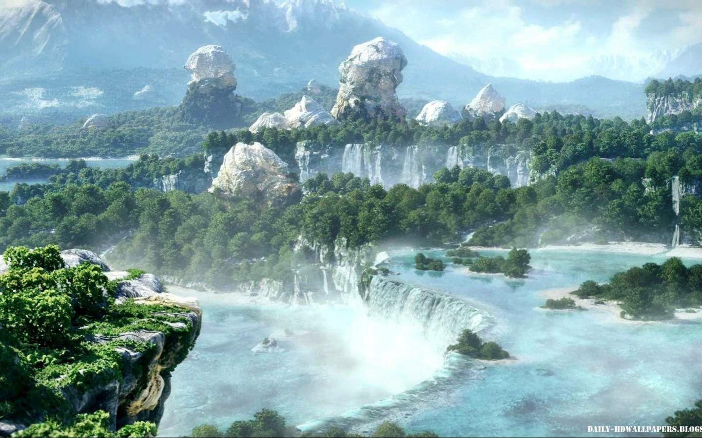 Waterfall View Waterfalls Nature Rivers Trees Wallpaper - Final Fantasy Xiv , HD Wallpaper & Backgrounds