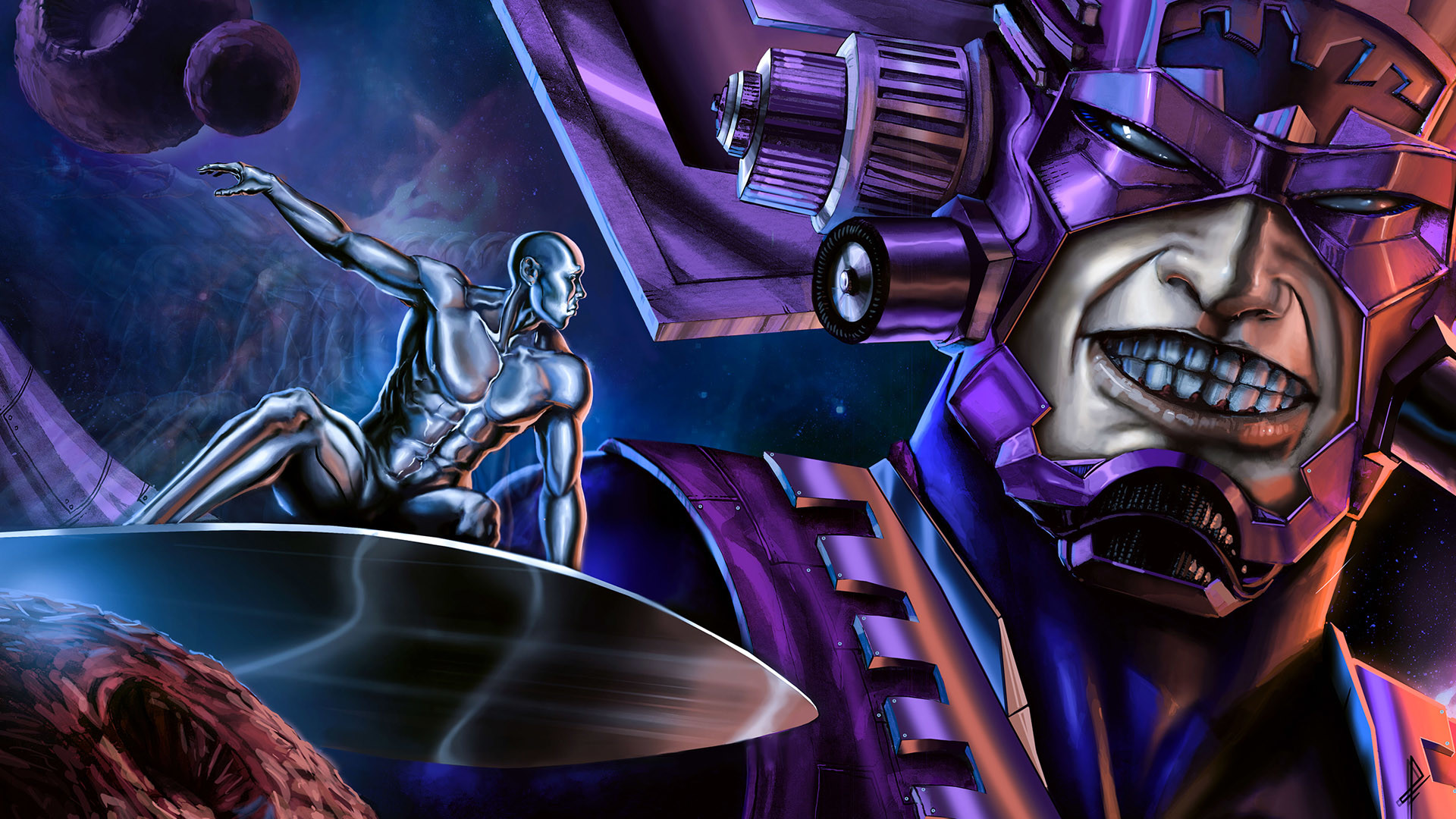 Silver Surfer Wallpaper Hd Galactus And Silver Surfer Art