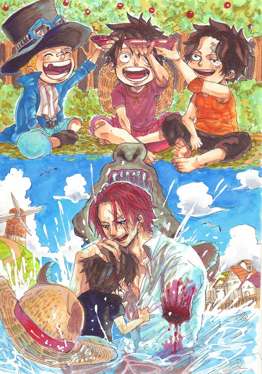 One Piece Luffy Ace Sabo Shanks 197419 Hd Wallpaper