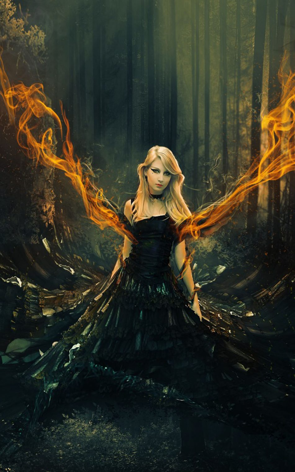 Fantasy Girl Flame Forest Surreal Hd Mobile Wallpaper - Fantasy Girl Wallpaper Phone , HD Wallpaper & Backgrounds