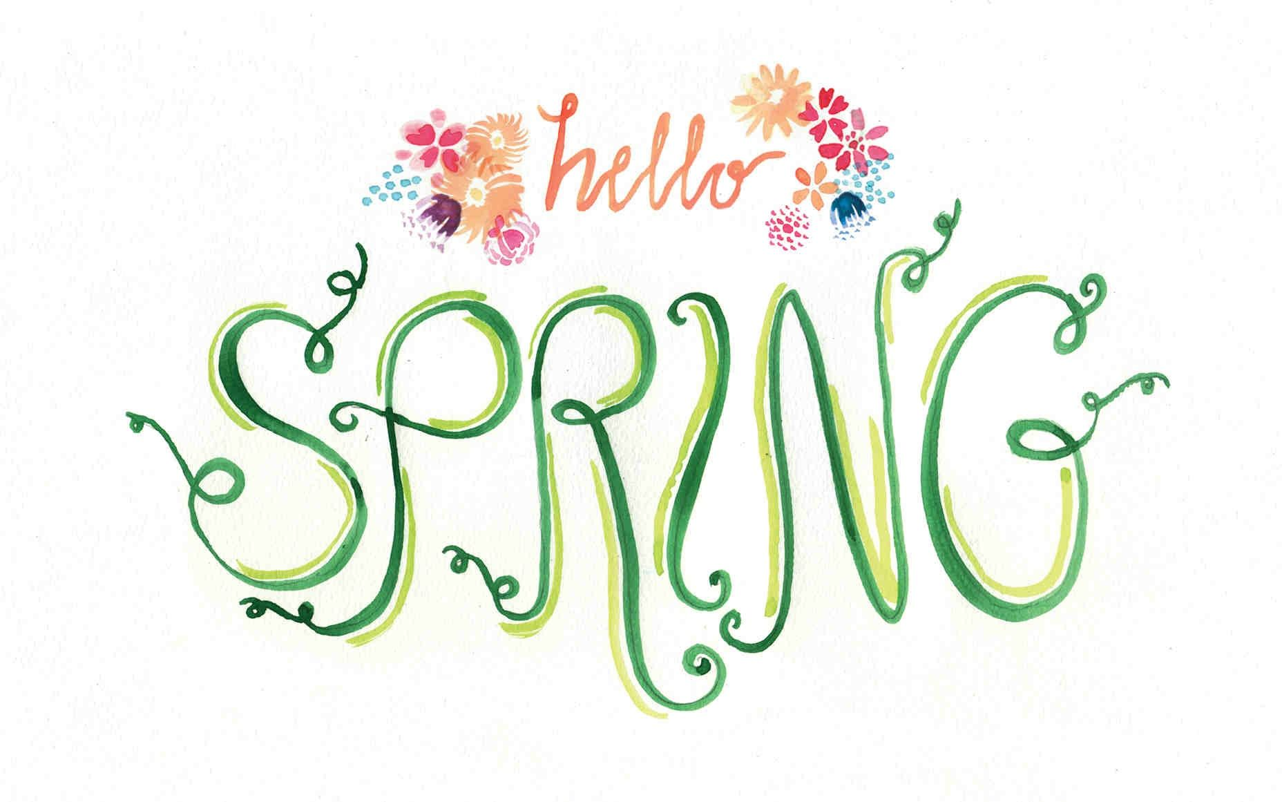 Hello Spring Free Computer Wallpaper Download At Tinyinklings - Happy Spring Desktop Background , HD Wallpaper & Backgrounds