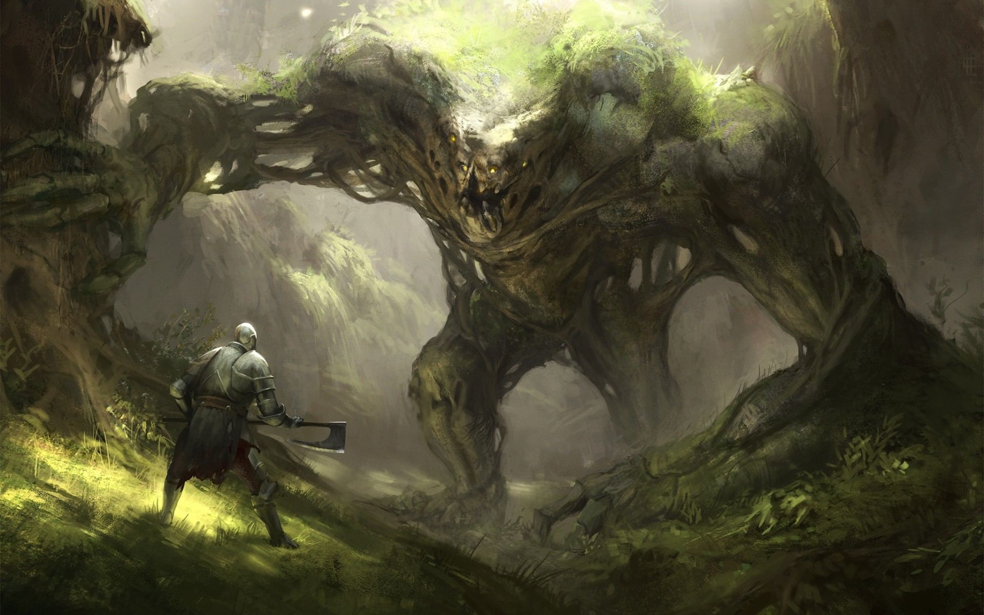 Living Tree, Man, Axe, Forest, Fantasy Creature - Fantasy Earth Elemental Art , HD Wallpaper & Backgrounds