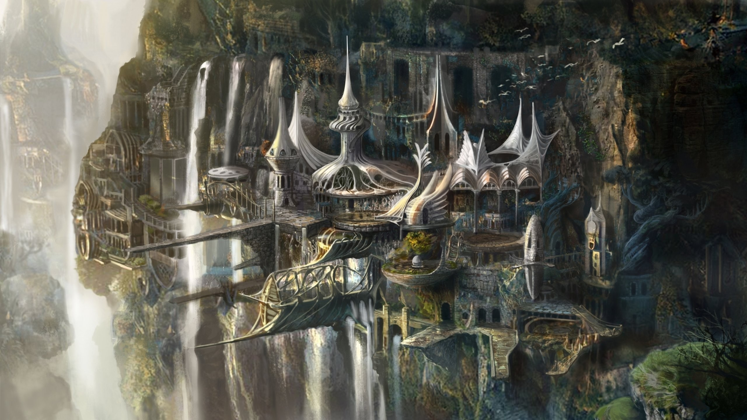 Fantasy City Wallpaper 1080p Elven Castle Lord Of The Rings