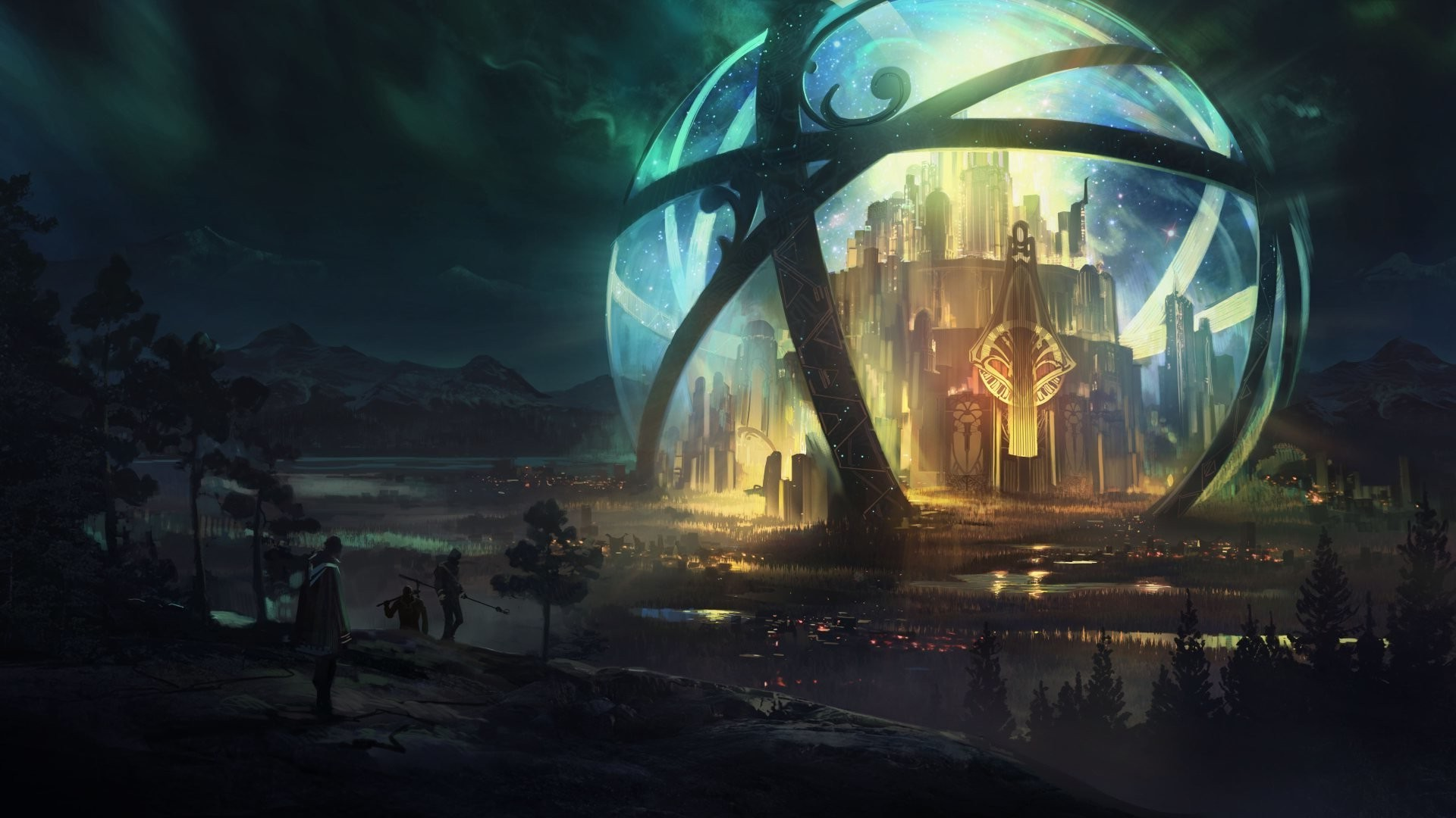Artwork, Digital Art, City, Sphere, Fantasy Art Wallpapers - Fantasy Digital Art City , HD Wallpaper & Backgrounds
