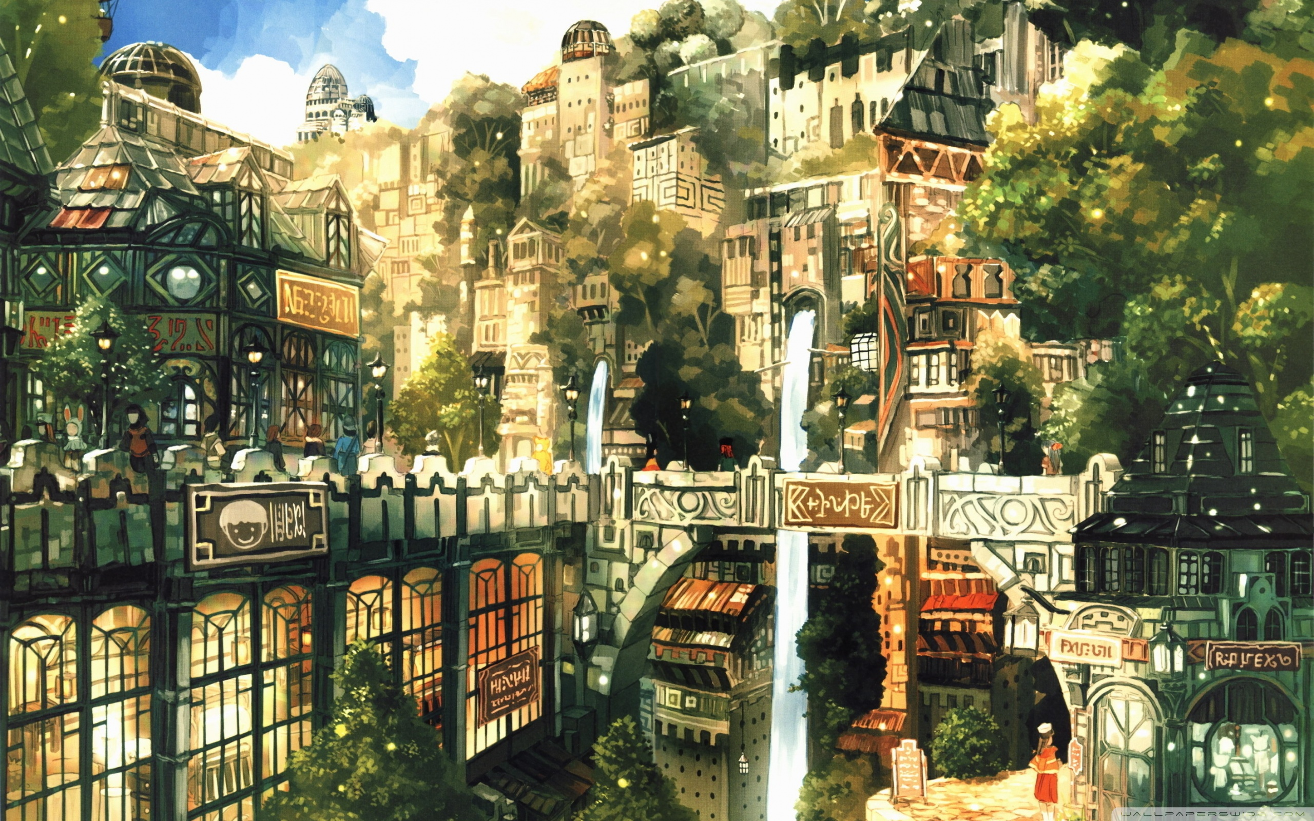Fantasy City Wallpaper Hd - Background Anime City , HD Wallpaper & Backgrounds