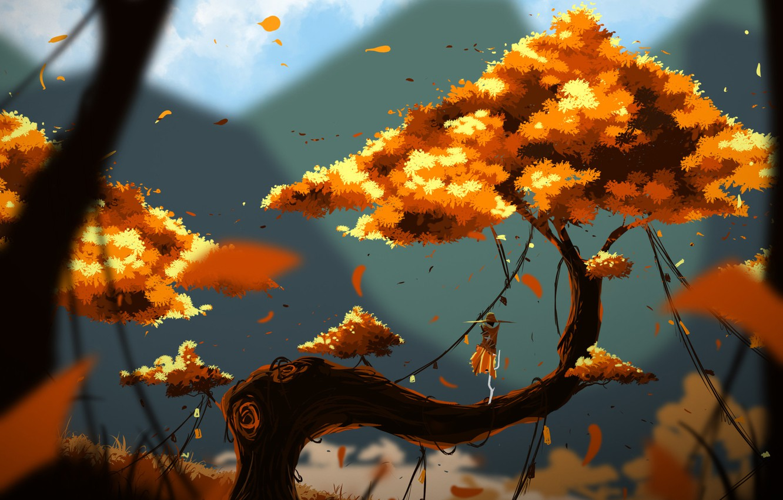 Photo Wallpaper Tree, Figure, Autumn, Fantasy, Landscape, - Fantasy World , HD Wallpaper & Backgrounds
