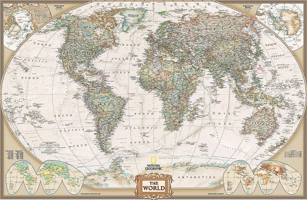 National Geographic's Executive World Map Wall Mural - Old World Map , HD Wallpaper & Backgrounds