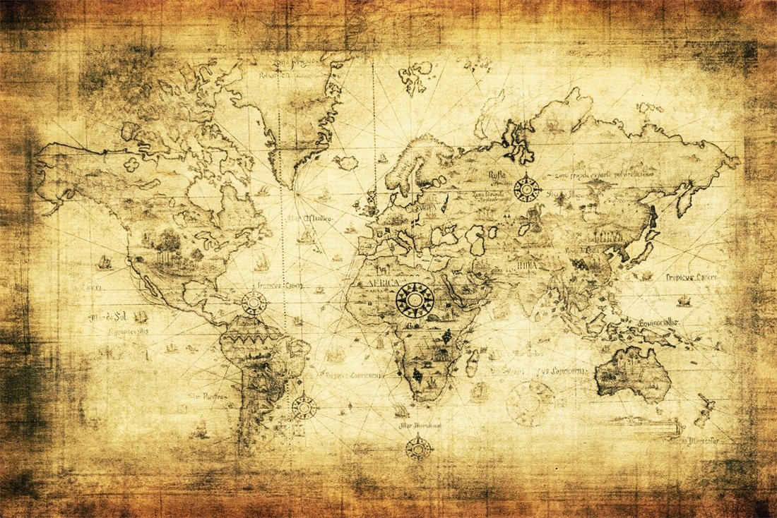 Ofila Vintage World Map Backdrop 9x6ft Navigation Expedition - Ancient World Map , HD Wallpaper & Backgrounds