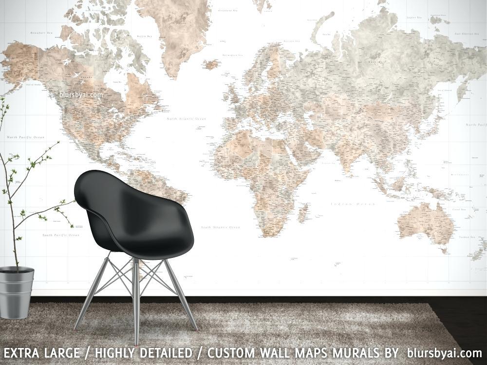 Brown And Grey World Map Wall Mural Abey Blursbyai - Gaming ...