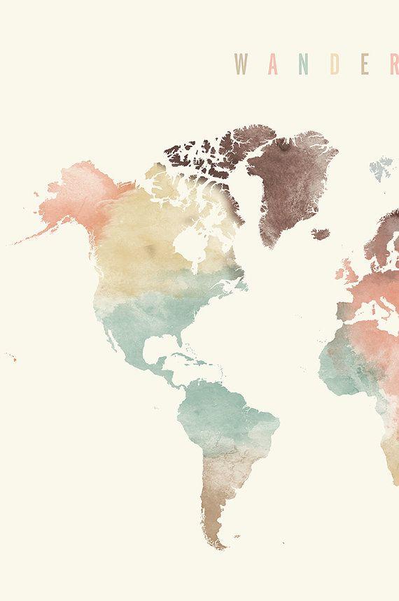 World Map World Map Poster Wanderlust World Map Pastel