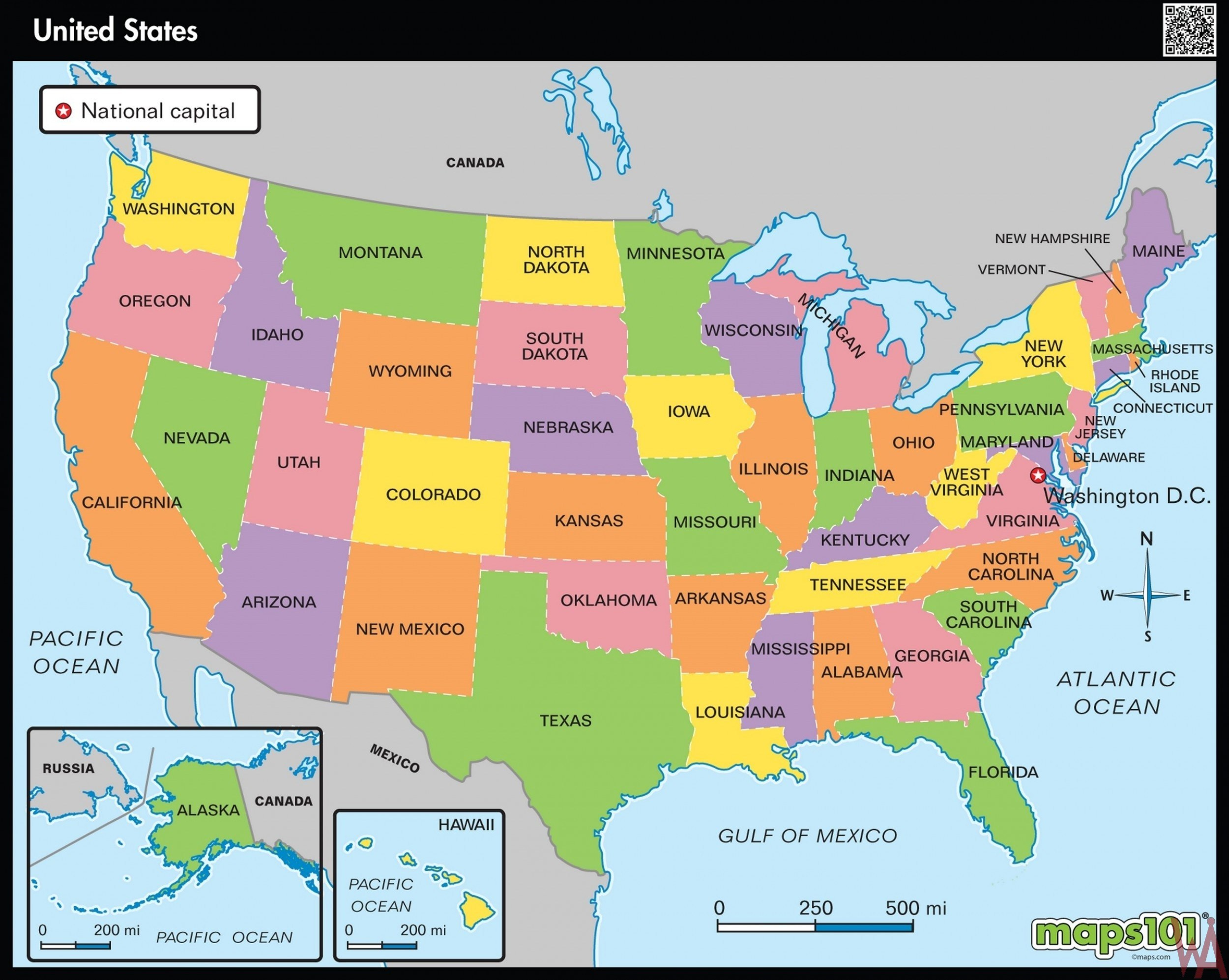 Hd Wallpaper Large State Map Of The Us - Political Map Of ...