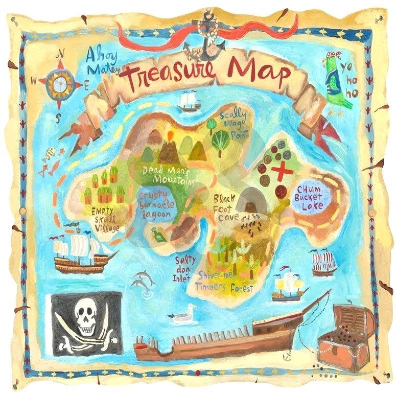 Treasure Map Wall Art Treasure Map Personalized Murals