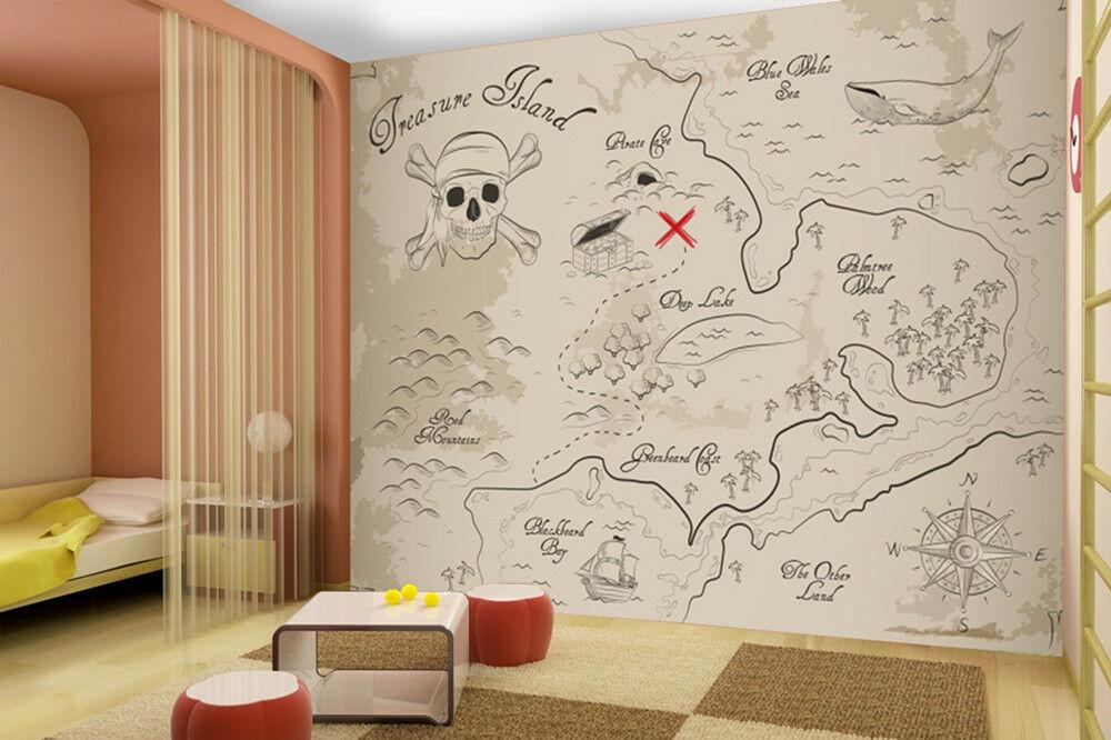 Vintage Treasure Map Wall Mural Pirate Photo Wallpaper Boys Bedroom Home Decor
