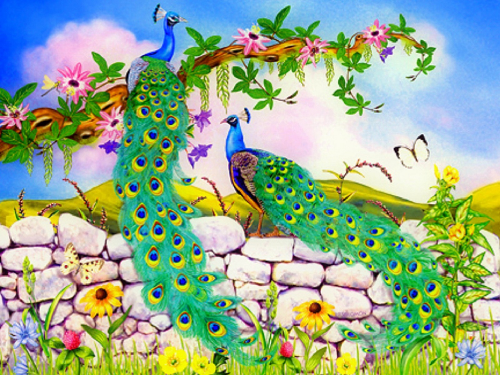 Beautiful Peacocks Stone Wall Wallpapers And Stock - Beautiful Pictures Of Flowers And Butterflies Birds , HD Wallpaper & Backgrounds