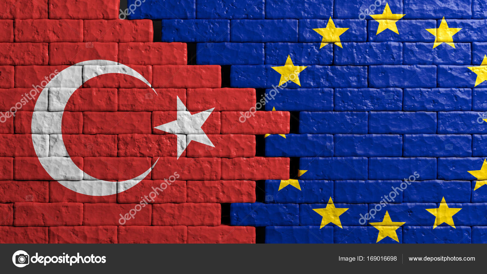 European Union And Turkey Flag, Brick Wall Background - Turkey Eu Relations , HD Wallpaper & Backgrounds