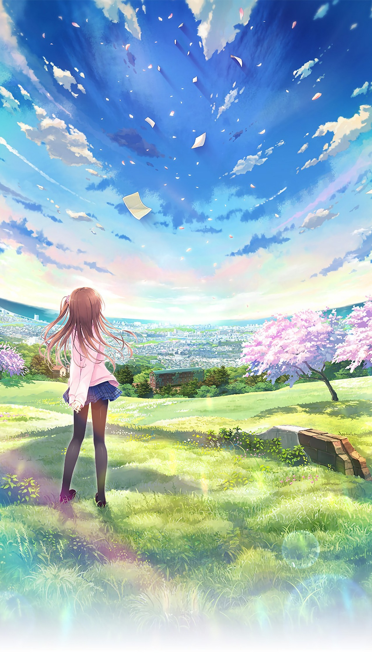 Anime World Beautiful Girl Sky Android Wallpaper - Beautiful Iphone Anime Wallpaper Hd , HD Wallpaper & Backgrounds