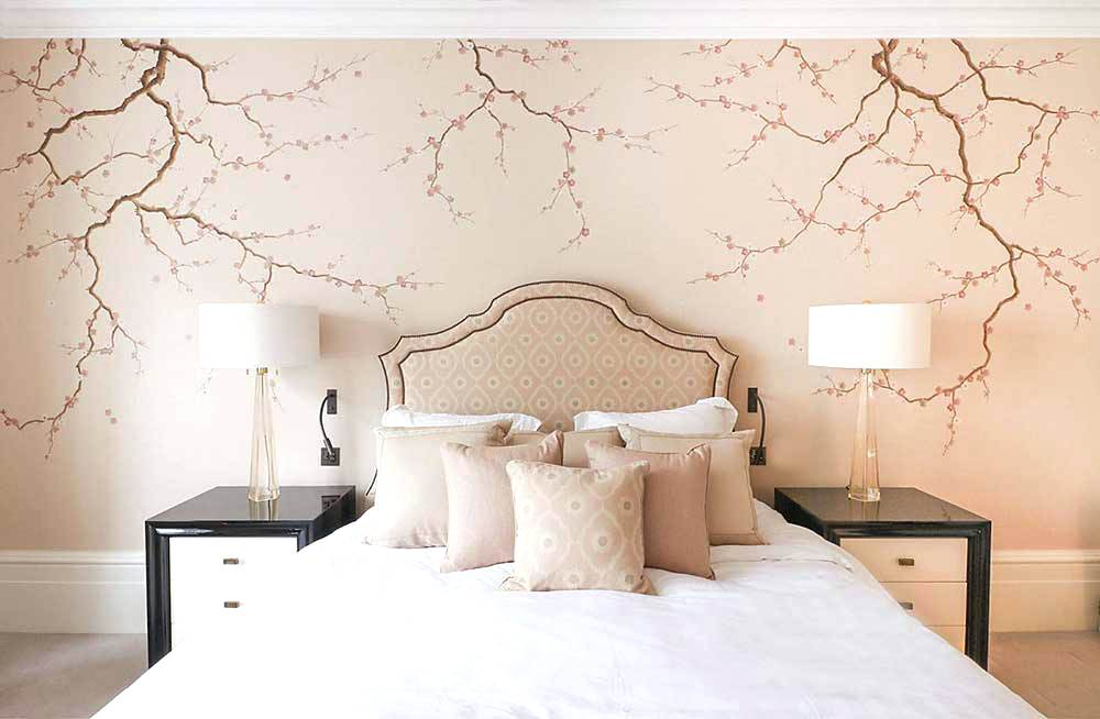 Cherry Blossom Mural On Silk Paper Painting Cherry Blossom Wallpaper Bedroom 1918392 Hd Wallpaper Backgrounds Download