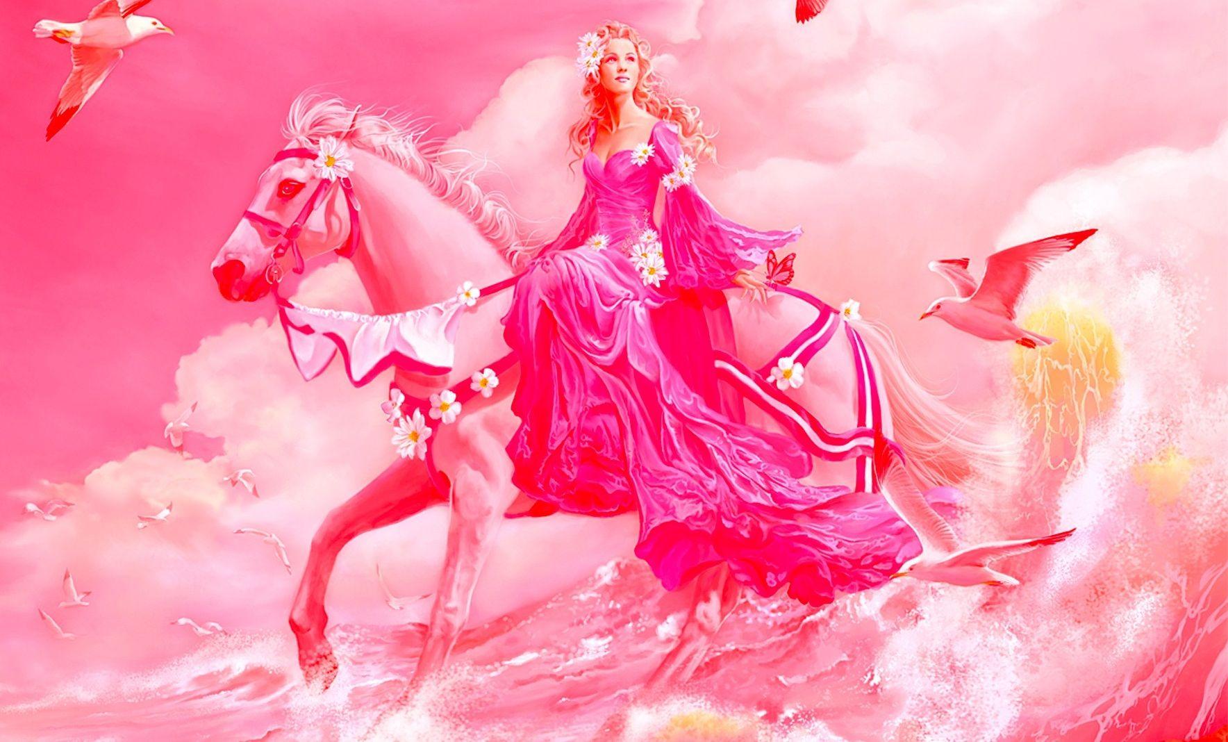 191 1919637 pink princess 3d abstract amazing beautiful birds girl