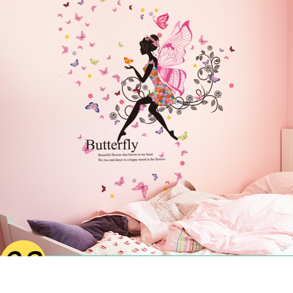 Su&hin Girl Bedroom Stickers,wallpaper For Princess - Fairy And Butterfly Wall Stickers Uk , HD Wallpaper & Backgrounds