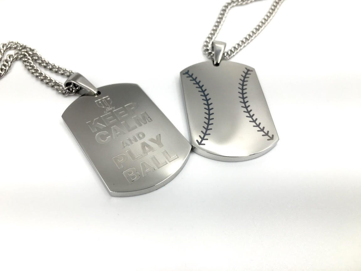 Baseball Stitch Keep Calm And Play Ball Engraving Dog - Baseball Dog Tags Necklace , HD Wallpaper & Backgrounds